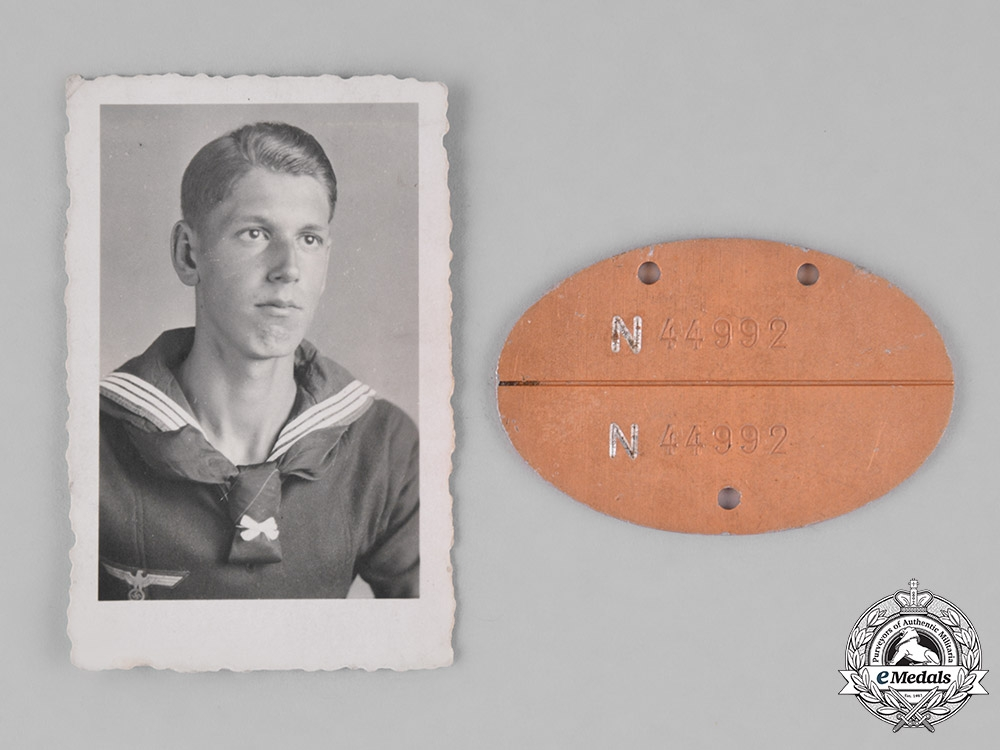 eMedals-Germany, Kriegsmarine. An Identification Tag Accompanied by the Picture of a Sailor