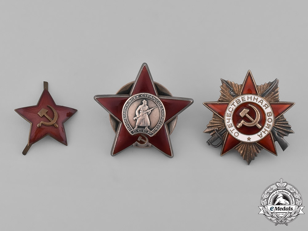 eMedals-Russia, Soviet Union. Two Orders and One Cap Badge