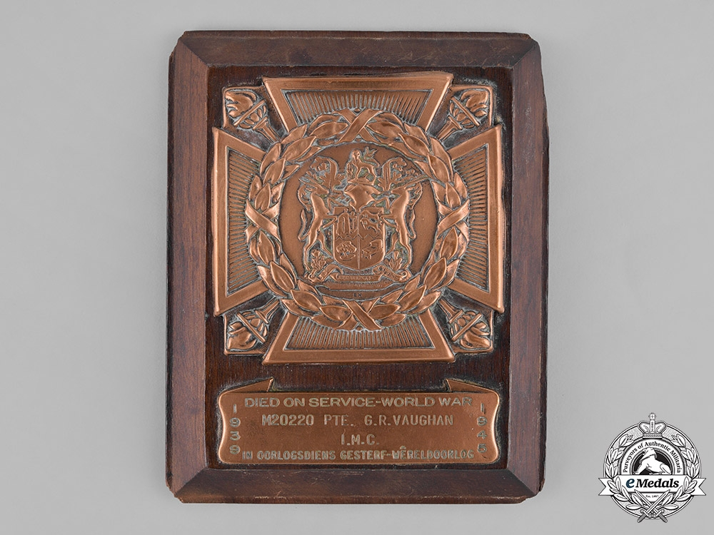 eMedals-South Africa. A Memorial Plaque to Pte. Vaughan, IMC, Died on Service, 1941