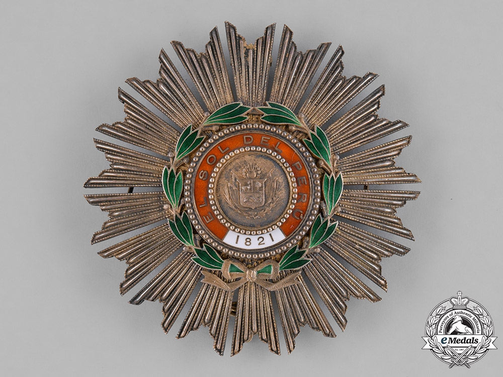 eMedals-Peru, Republic. An Order of the Peruvian Sun, Grand Cross Star, by G. Lemaitre, c.1860