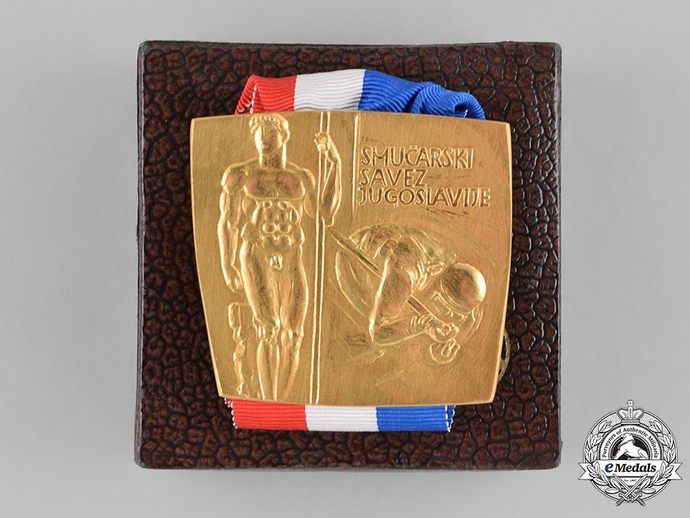 eMedals- Yugoslavia; Slovenia. Golden Ski Medal to Stane Dolanc, one of Tito's closest collaborators
