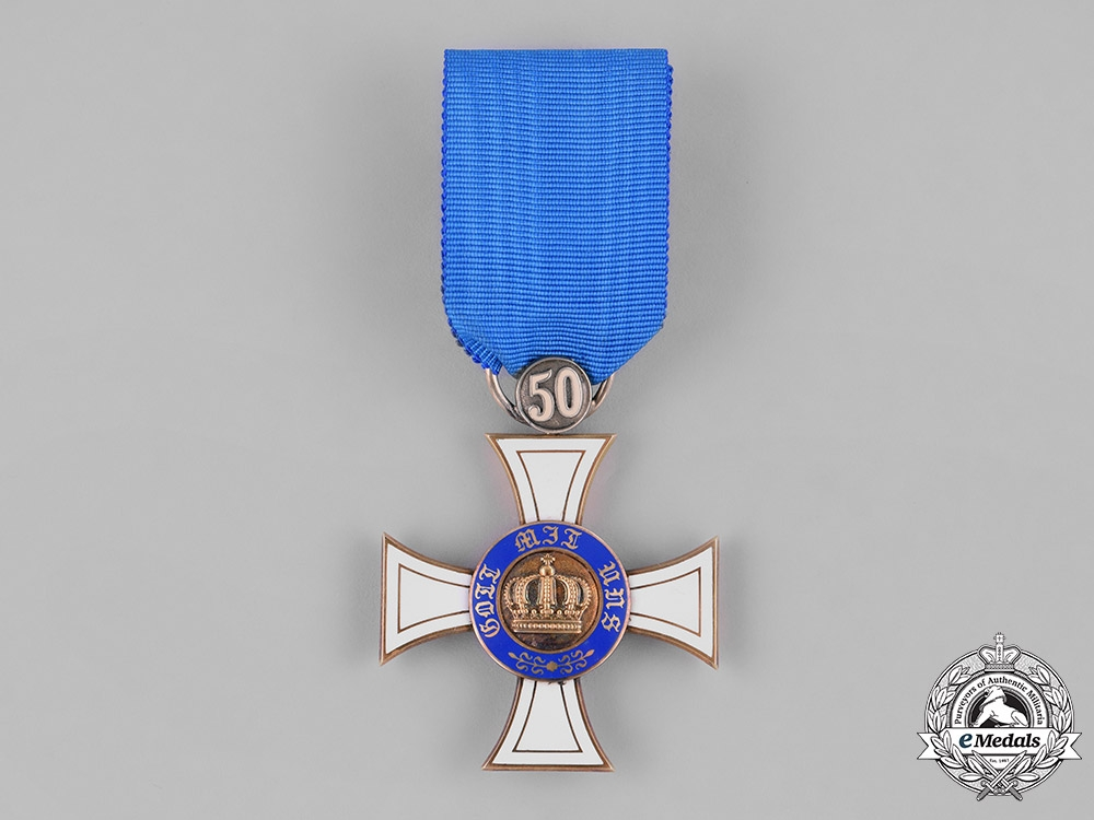 eMedals-Prussia, Kingdom. A Crown Order in Gold, III Class Cross with 50 Jubilee, by Wagner