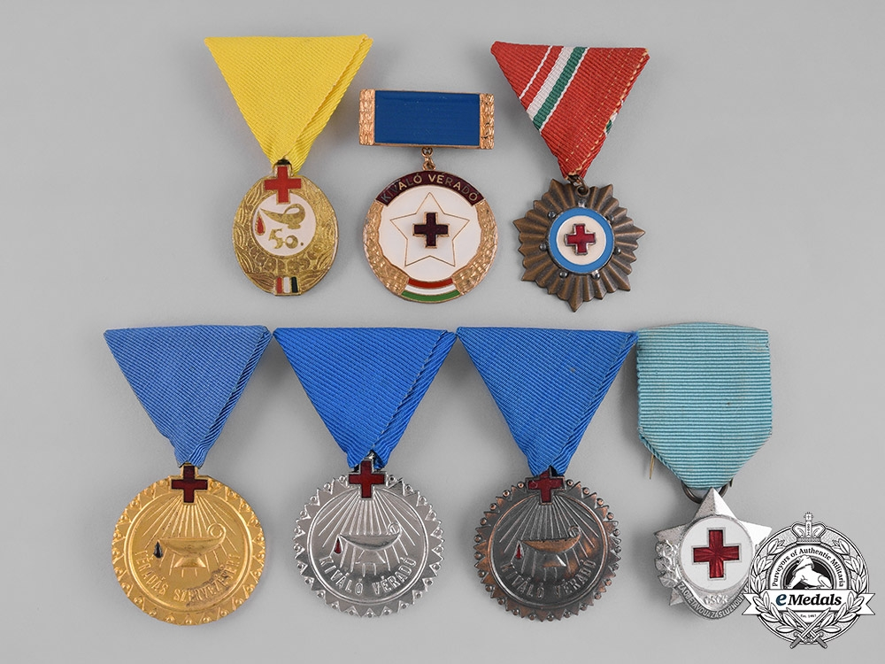 eMedals-Czechoslovakia, Socialist Republic. Hungary, People's Republic. A Lot of Seven Red Cross Medals