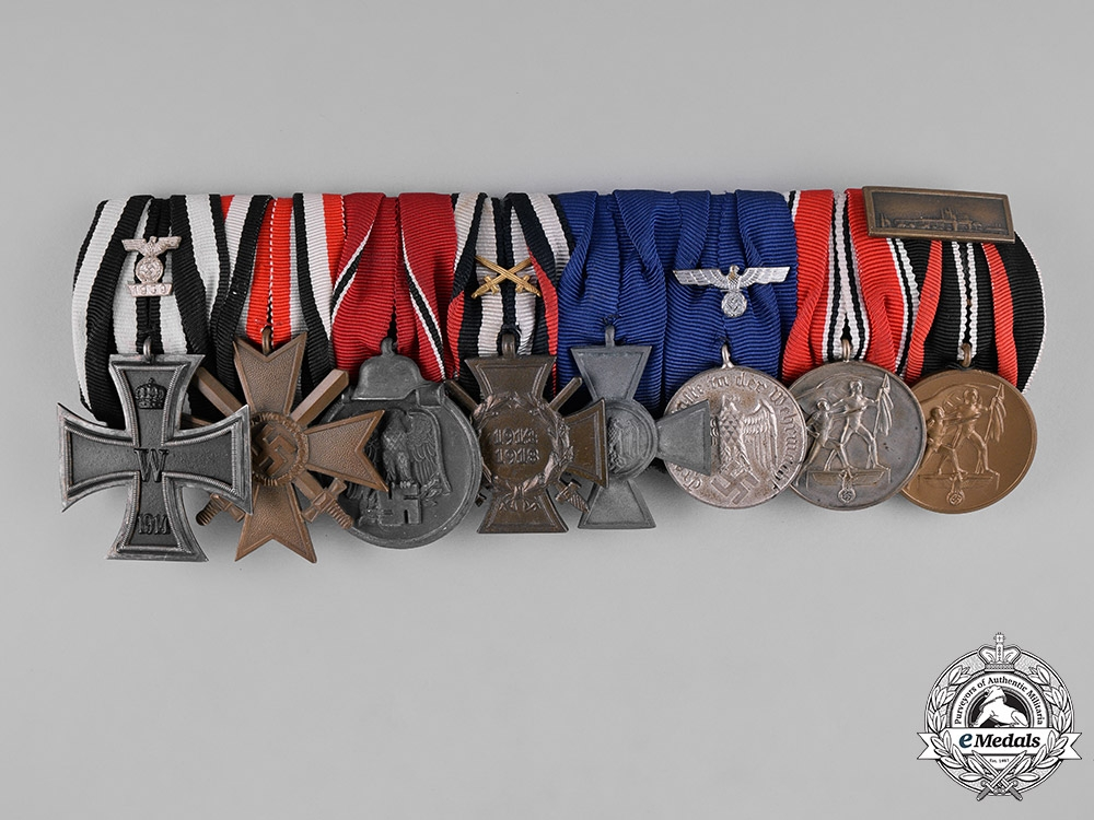 eMedals-Germany, Third Reich. An EKII Spange, Long Service, & Campaign Medal Bar