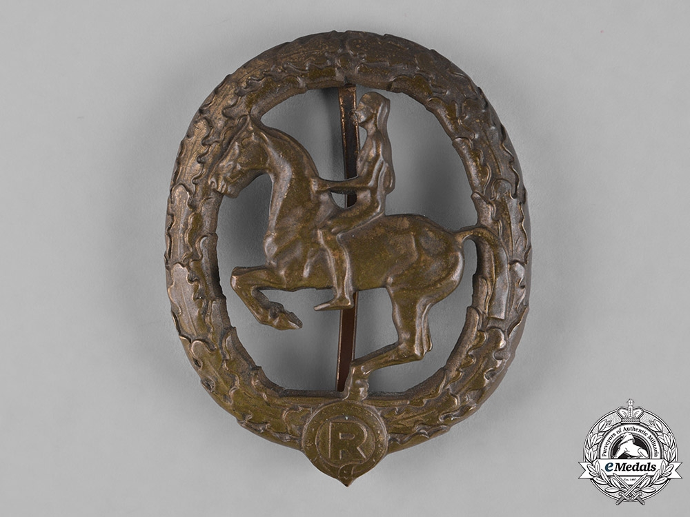 eMedals-Germany, Third Reich. A Horseman's Badge, Bronze Grade, by L. Christian Lauer
