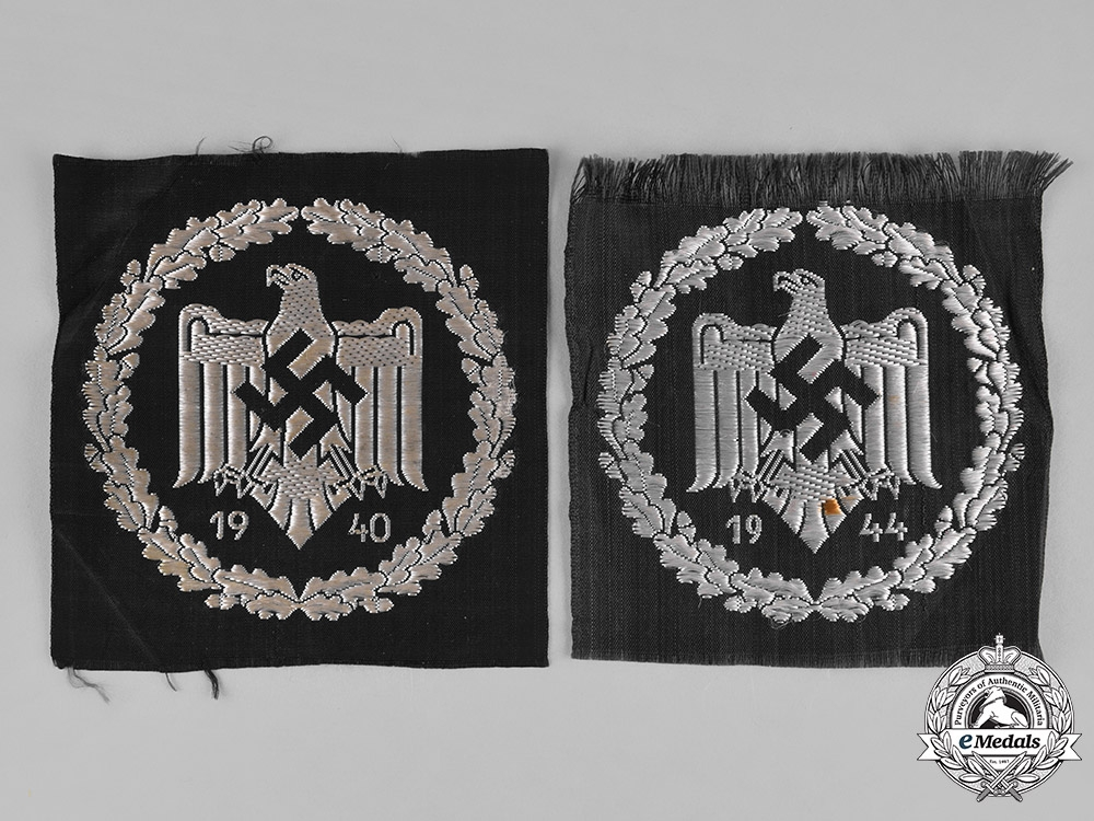 eMedals-Germany, DRL. A Pair of DRL Silver Sports Badges, Cloth Version