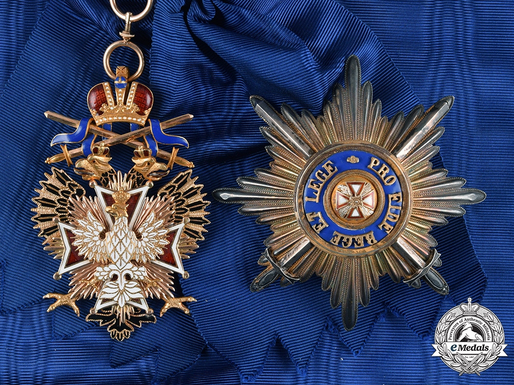 eMedals-Russia, Imperial. An Order of the White Eagle, Badge and Breast Star with War Decorations, by Eduard, c.1914