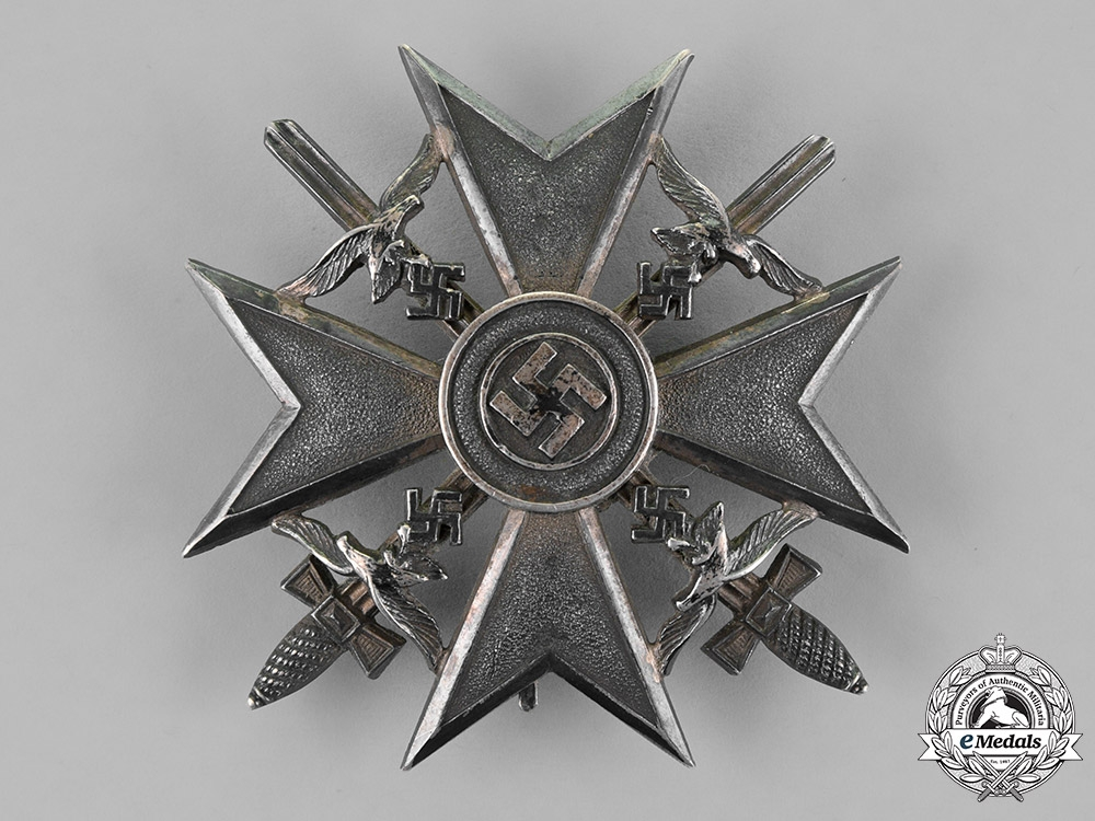eMedals-Germany. A Spanish Cross with Swords, Silver Grade, by C.E. Juncker