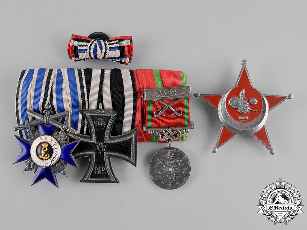 eMedals-Bavaria. A Bavarian and Ottoman Medal Bar with a Gallipoli Star & Boutonniere