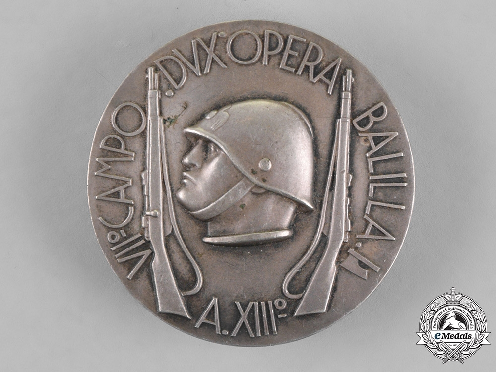 """eMedals-Italy, Fascist State. A Youth """"Opera Balilla"""" Field Badge, by Lorioli & Castelli, c.1940"""