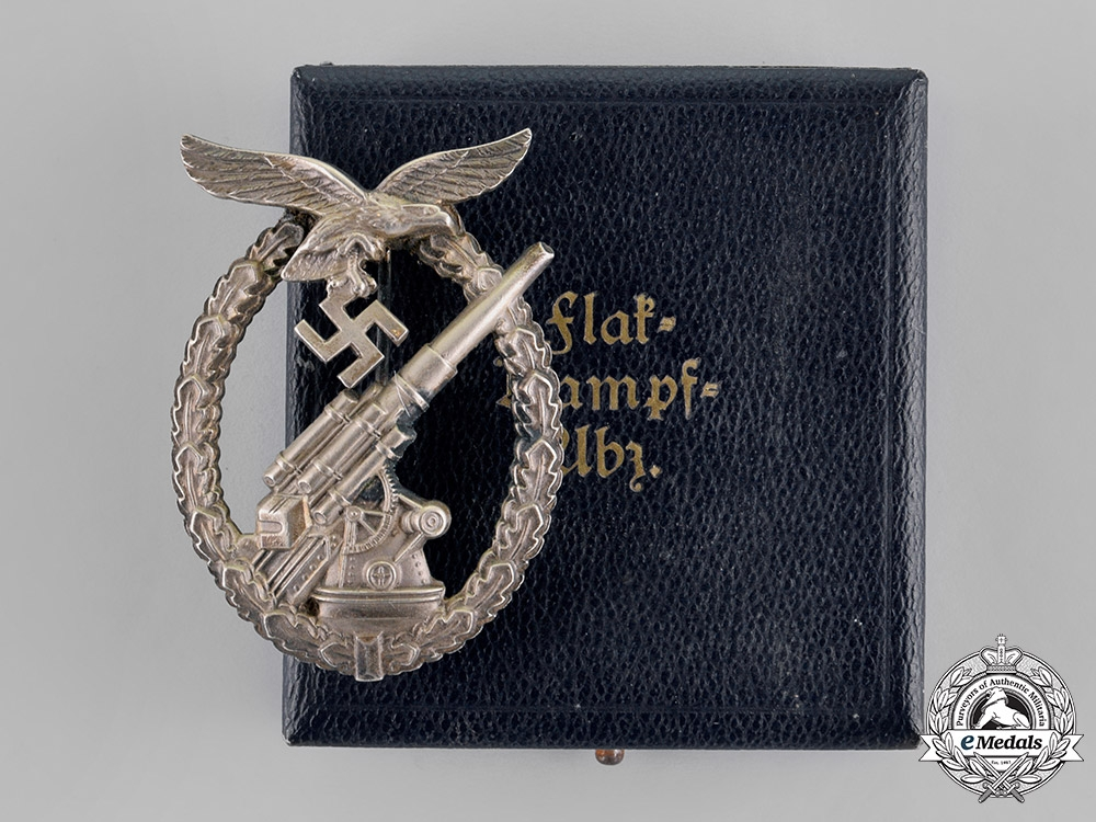 eMedals-Germany, Luftwaffe. An Early Flak Badge by Brehmer, In Case of Issue