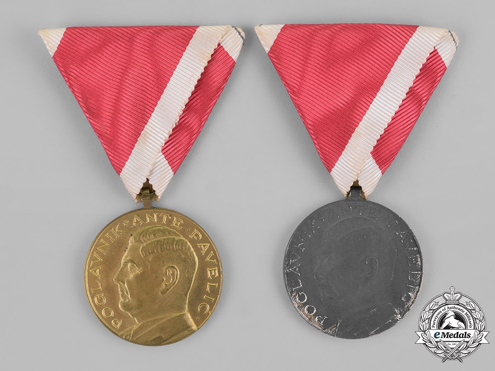 eMedals-Croatia. An Ante Pavelić Bravery Medal, Silver and Bronze Grade Medals
