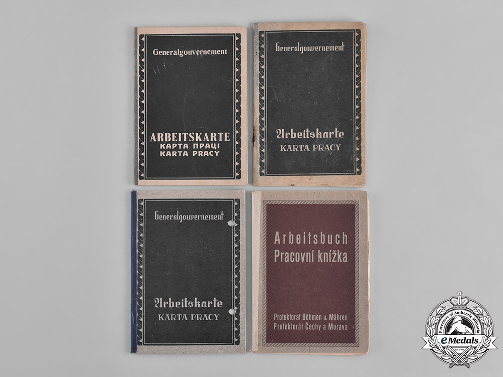 eMedals-Germany, Third Reich. A Lot of Four Polish General Government Labour Books
