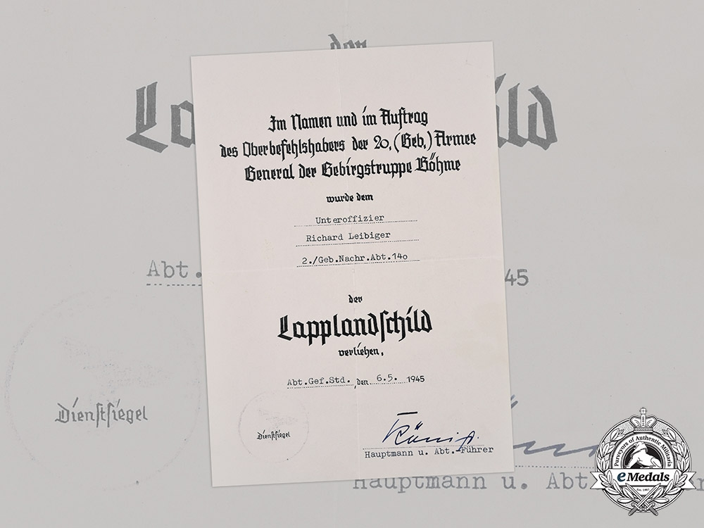 eMedals-Germany, Heer. An Award Document for a Lappland Shield, with Photos, to Unteroffizier Richard Leibiger