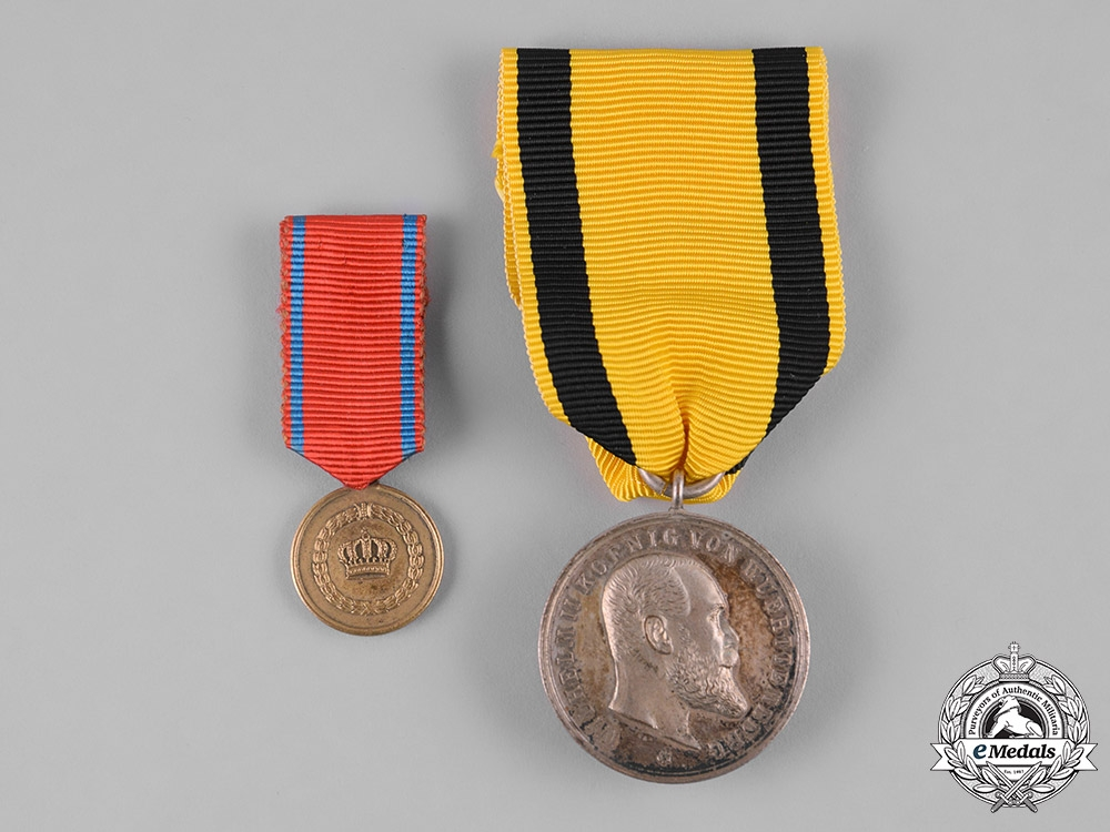 eMedals-Württemberg, Kingdom. A Pair of Service Medals