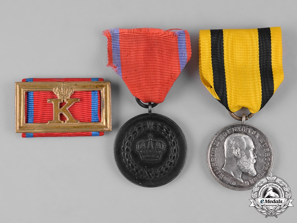 eMedals-Württemberg, Kingdom. A Group of Service Medals