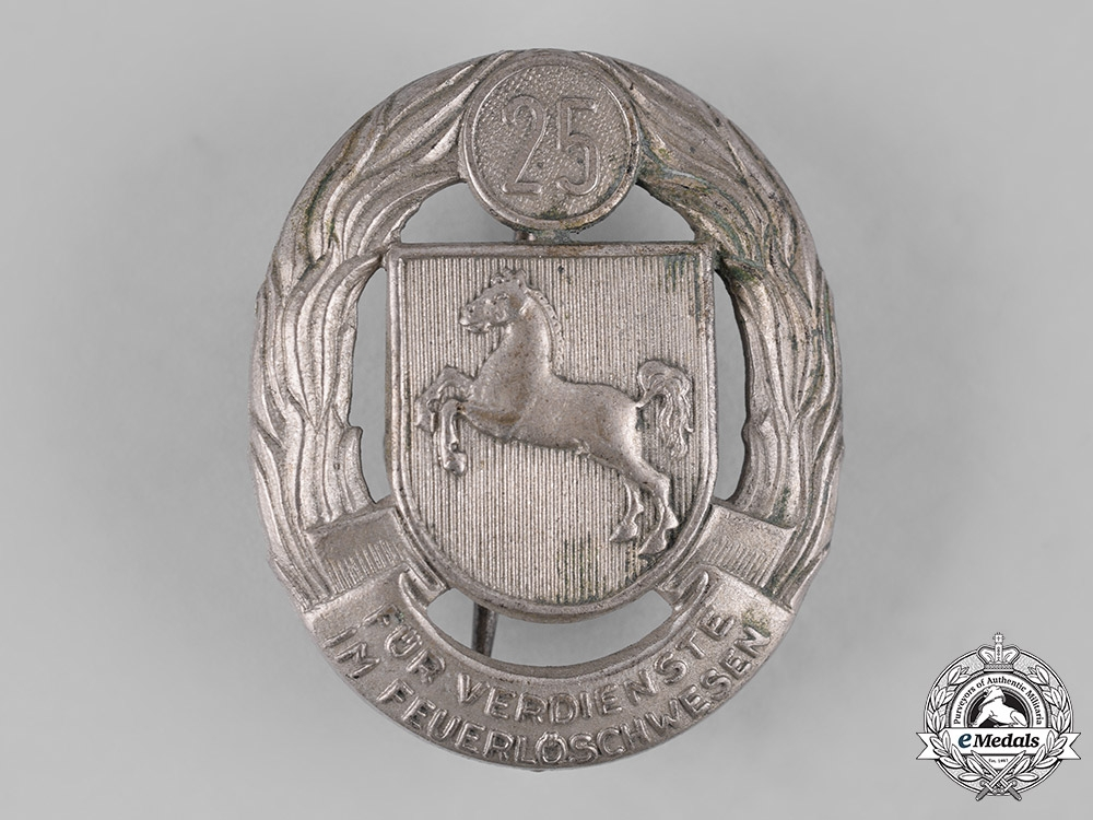eMedals-Germany, Federal Republic. A Lower Saxony Fire Brigade 25-Year Long Service Badge