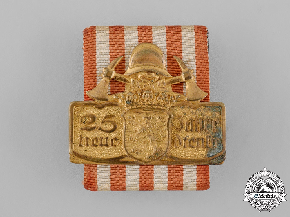 eMedals-Hesse, Grand Duchy. A Hesse Fire Brigade 25 Year Faithful Service Badge