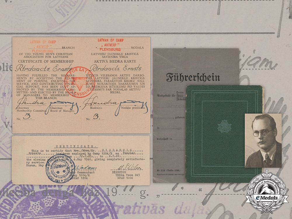 eMedals-Latvia.  Documents To Latvian Wartime German Collaborator And Post War Refugee Ernests Rirdancis