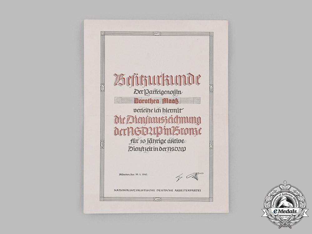 eMedals-Germany, NSDAP. A 1942 Award Certificate for a NSDAP Long Service Award, 1942
