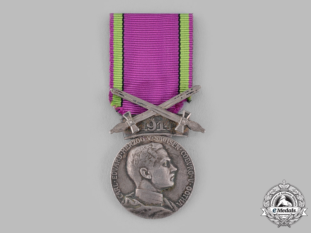 eMedals-Saxe-Coburg and Gotha, Duchy. A Saxe-Ernestine House Order, Silver Merit Medal with Sword Clasp 1914