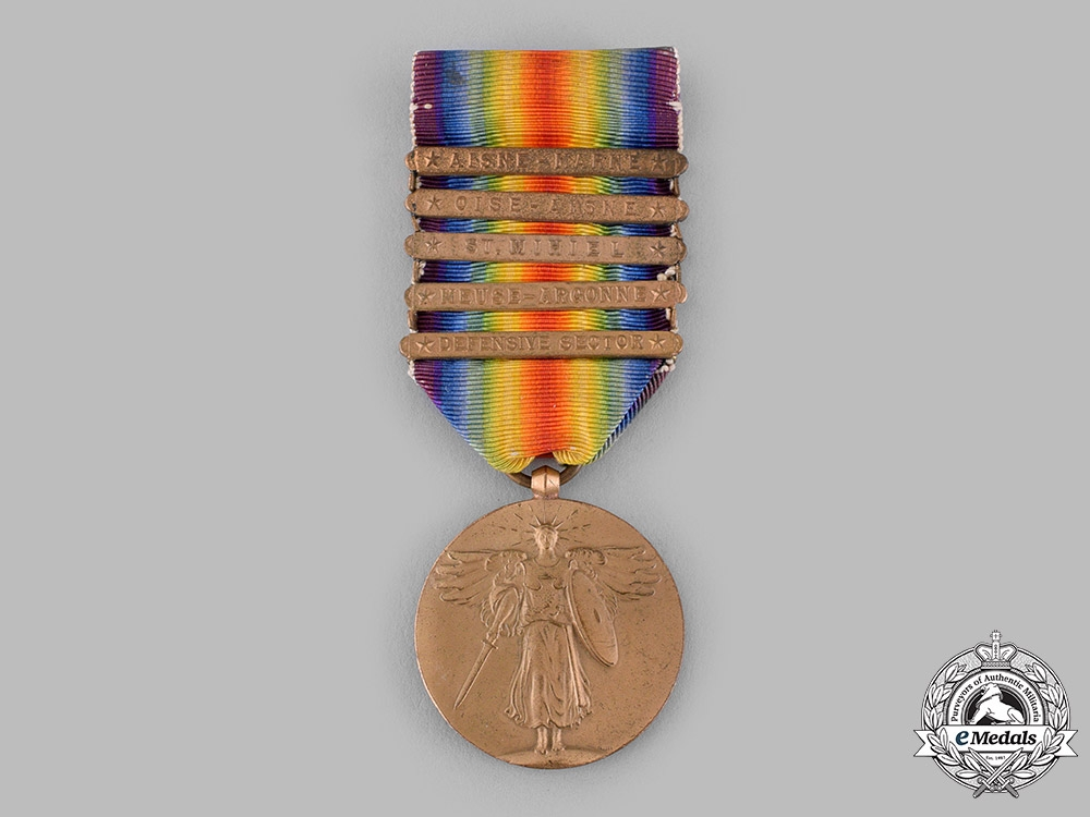 eMedals-United States. A World War I Victory Medal, 5 Clasps