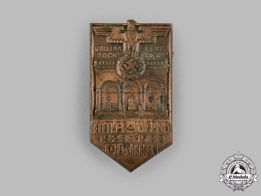 eMedals-Germany, HJ. A 1933 10-Year Munich Anniversary Badge by H. Wittmann