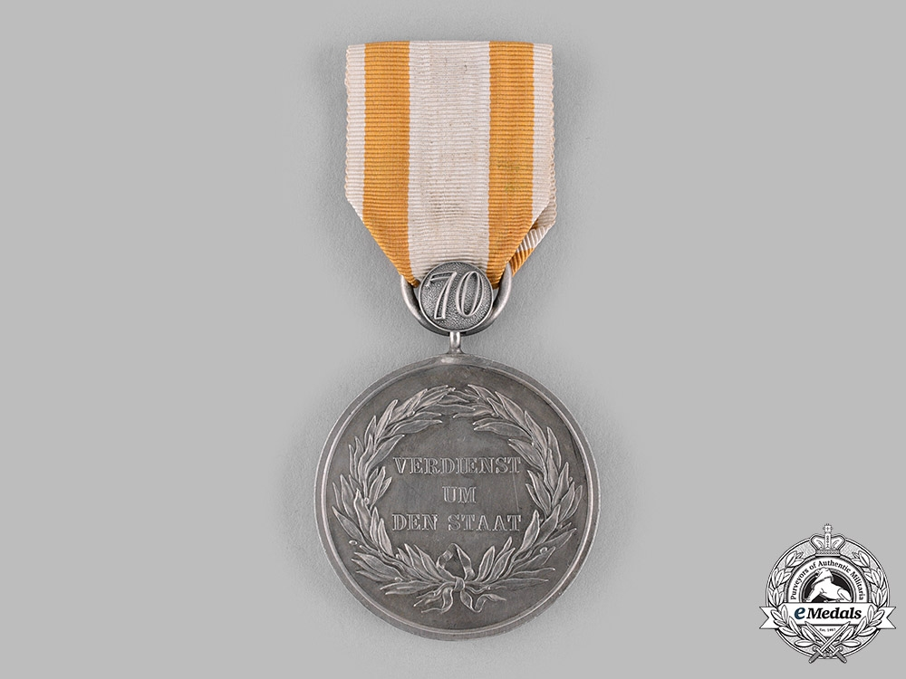 eMedals-Prussia, Kingdom. A General Honour Medal with 70-Year Clasp, c.1900