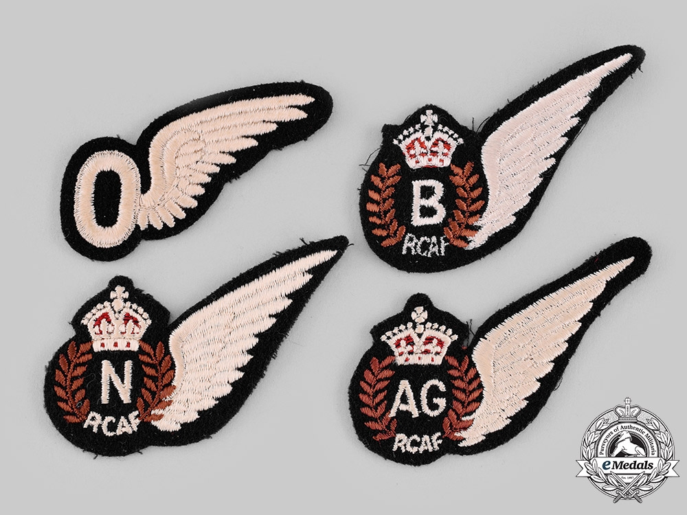eMedals-Canada. A Lot of Four Second War Royal Canadian Air Force (RCAF) Wings