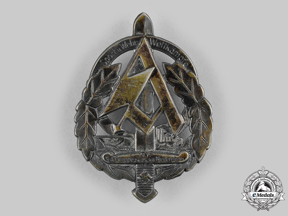 eMedals-Germany, SA. A 1937 Sturmabteilung (SA) Lower Rhine Sports and Combat Games Badge