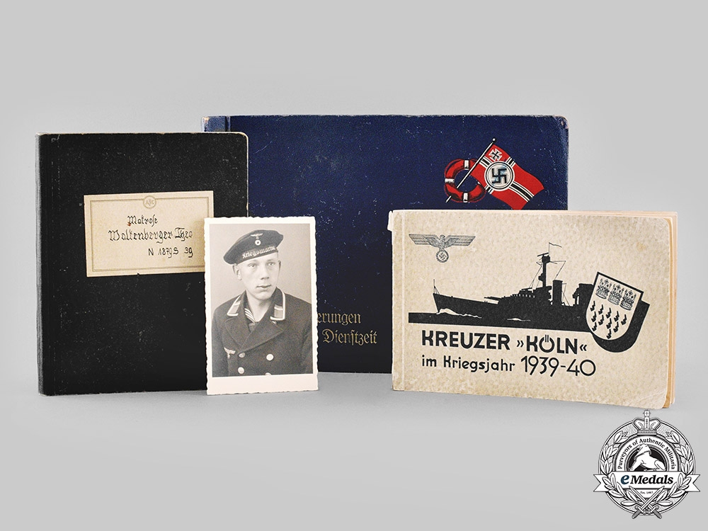 """eMedals-Germany, Kriegsmarine. An Extensive Wartime Photo Album & Documents Of Sailor Of Cruiser """"Köln"""", Attack On Norway"""