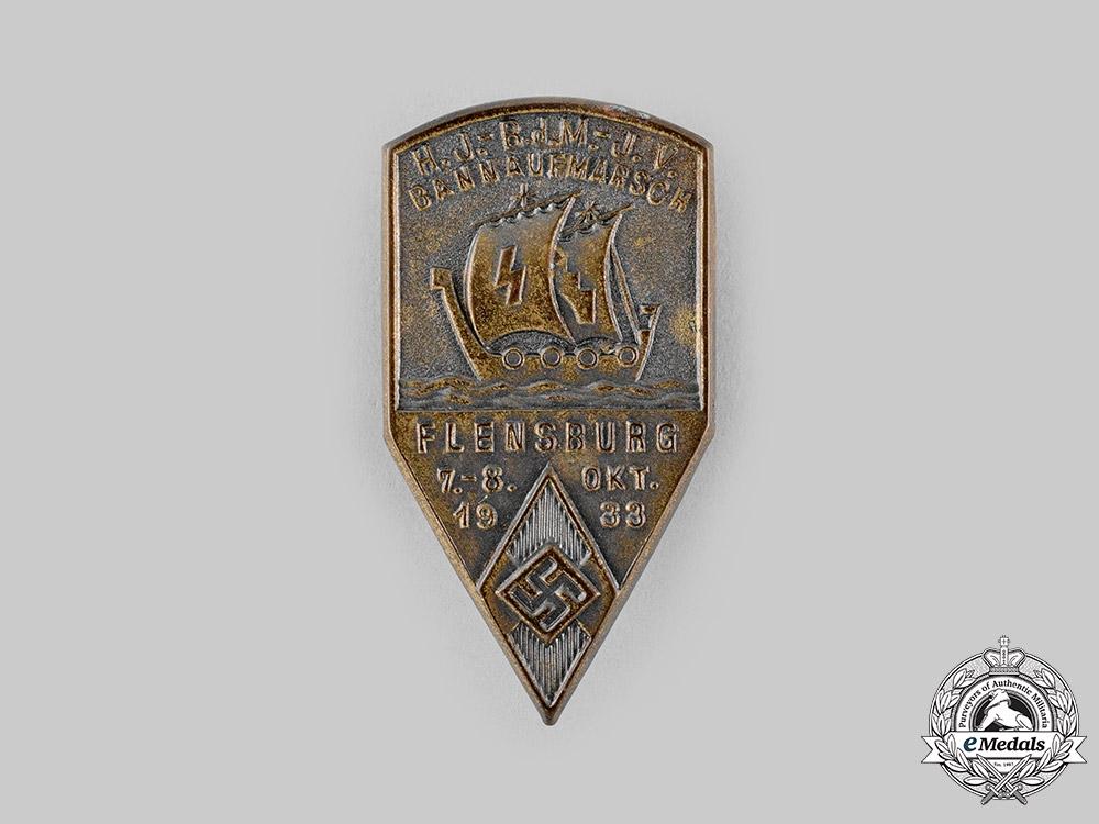 eMedals-Germany, HJ. A 1933 Flensburg HJ/BDM/DJ Joint Deployment Badge