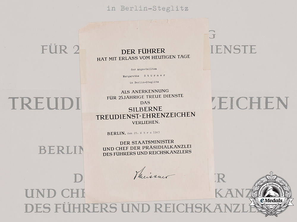 eMedals-Germany, Third Reich. An Award Certificate for a Civil Service Faithful Service Medal in Silver to Margarethe Stürmer