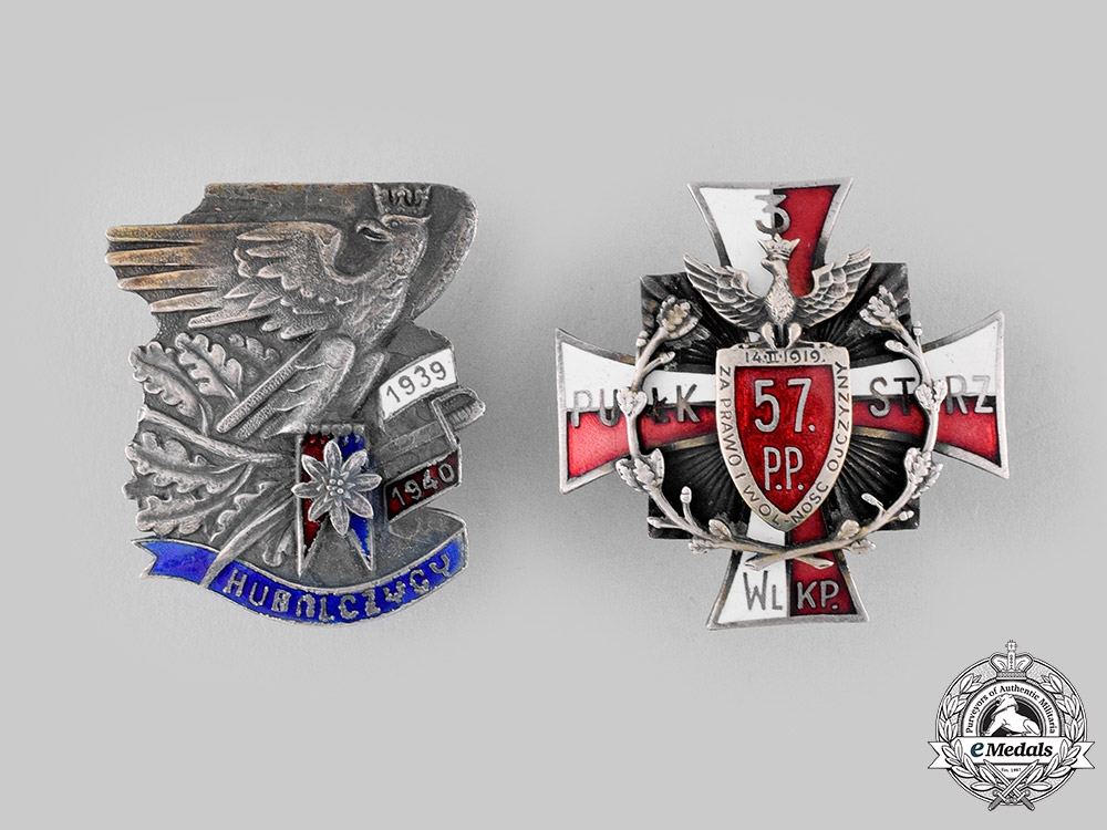 eMedals-Poland, People's Republic. Two Post-1945 Manufactured Regimental Badges