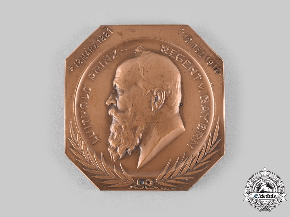 eMedals-Bavaria, Kingdom. A Prince Regent Luitpold Memorial Table Medal by Wilhelm Mayer & Franz Wilhelm