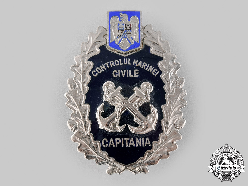 eMedals-Romania, Republic. A Civil Marine Control Captain's Badge, Post 1990