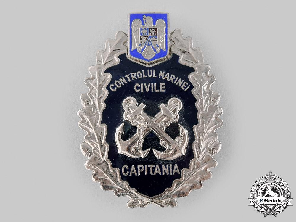 eMedals-Romania, Republic. A Civil Marine Control Captain's Badge, Post 1990