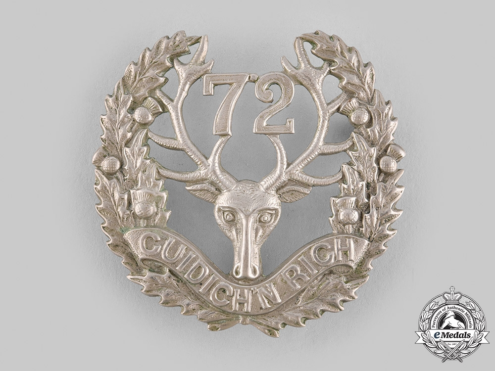 eMedals-Canada, Dominion. A 72nd Regiment Seaforth Highlanders of Canada Glengarry Badge c.1912
