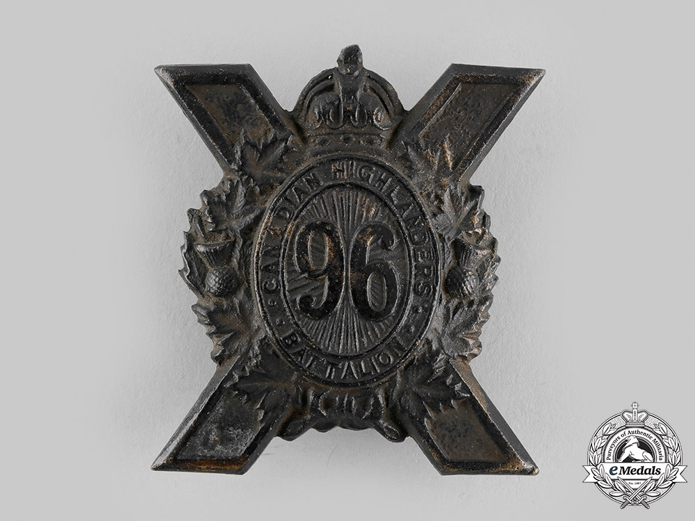 "eMedals-Canada, CEF. A 96th Infantry Battalion ""Canadian Highlanders"" Glengarry Badge, by Dingwall, c.1916"