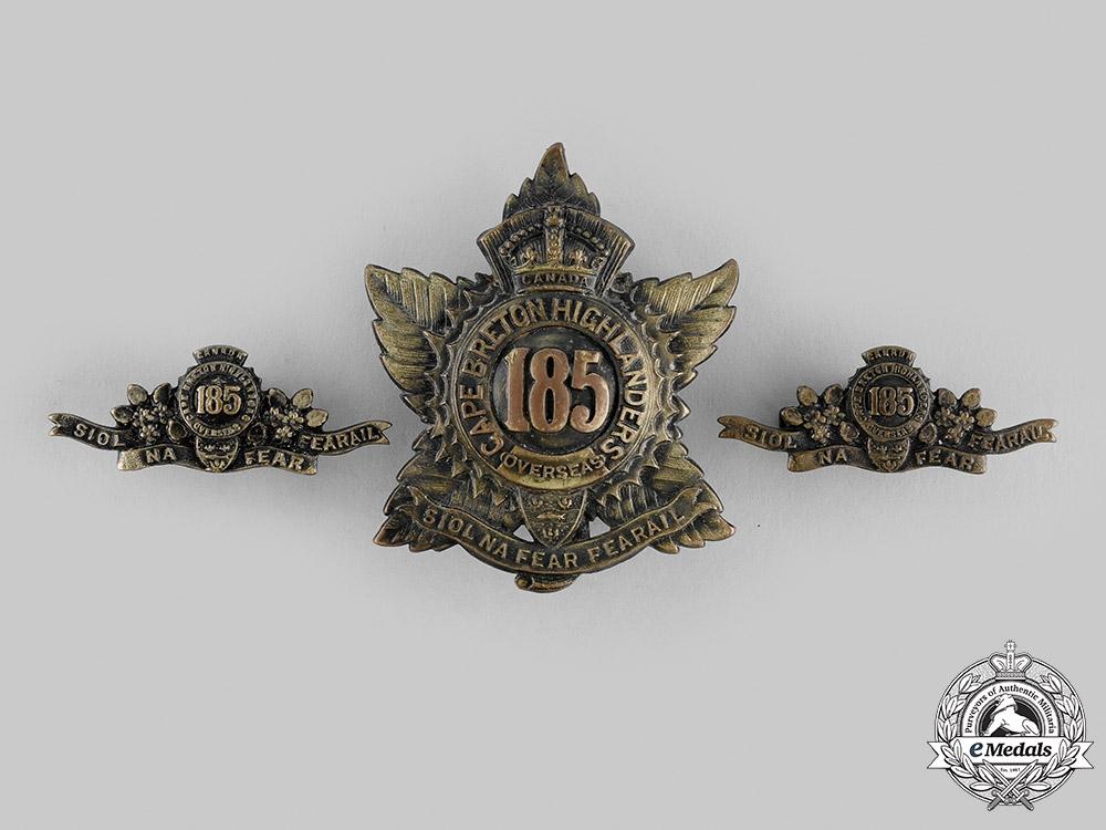 "eMedals-Canada, CEF. A 185th Infantry Battalion ""Cape Breton Highlanders"" Insignia Set, c.1916"