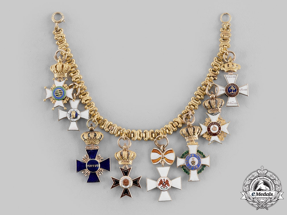 eMedals-Germany, States. A Fine & Extensive Ladies Miniature Order & Decoration Chain in Gold, c.1890