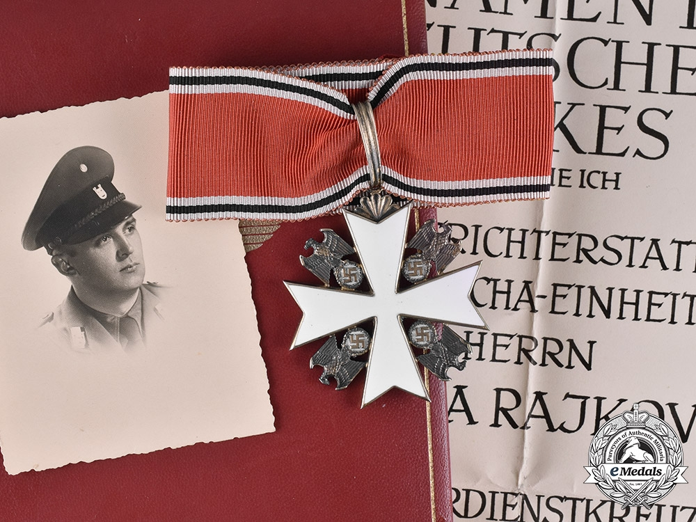 eMedals-Croatia, Independent State. An Order of the German Eagle with Document to Ustasha Officer Nikola Rajkovic 1942