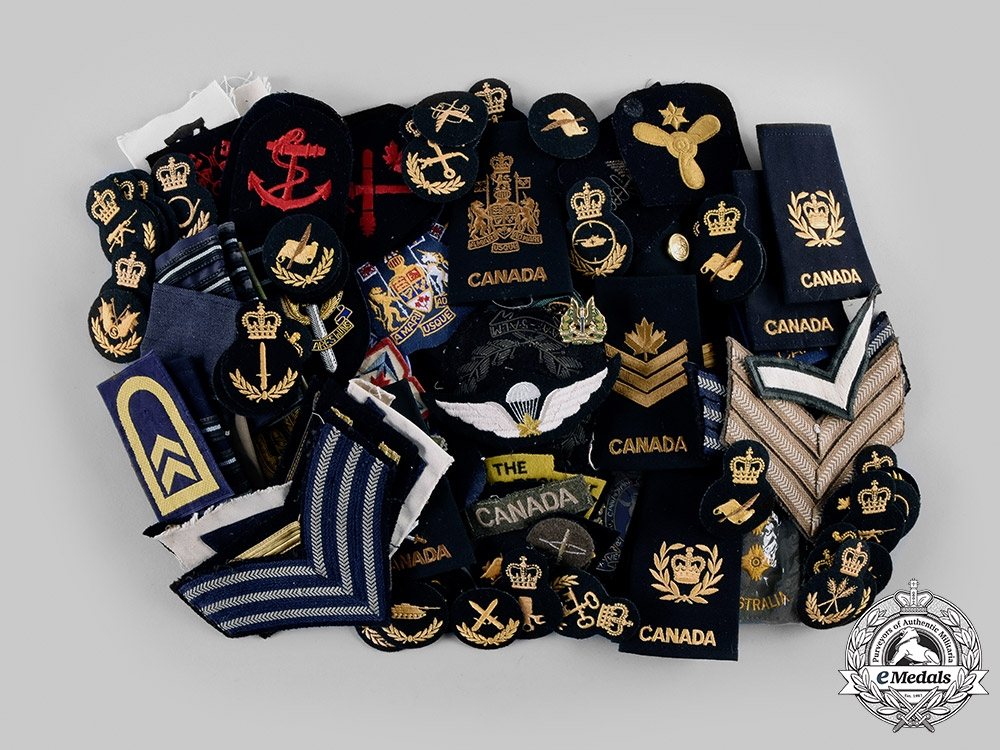 eMedals-Canada, Australia. A Lot of 131 Army, Navy, Air Force Insignia