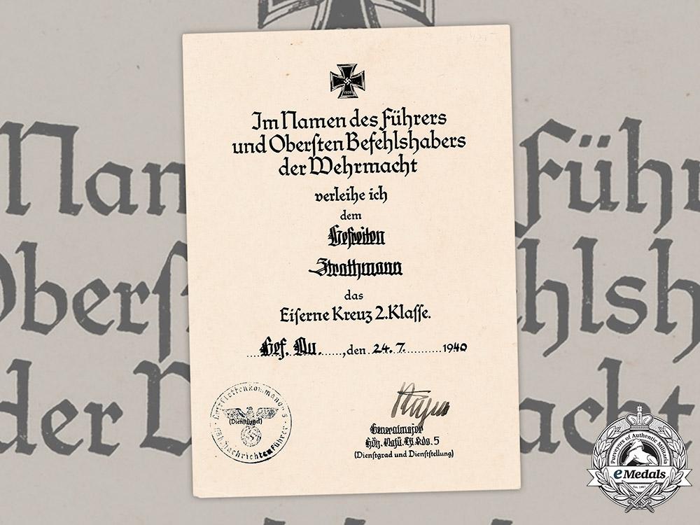 eMedals-Germany, Luftwaffe. An Iron Cross II Class Award Document To Gefreiter Strathmann
