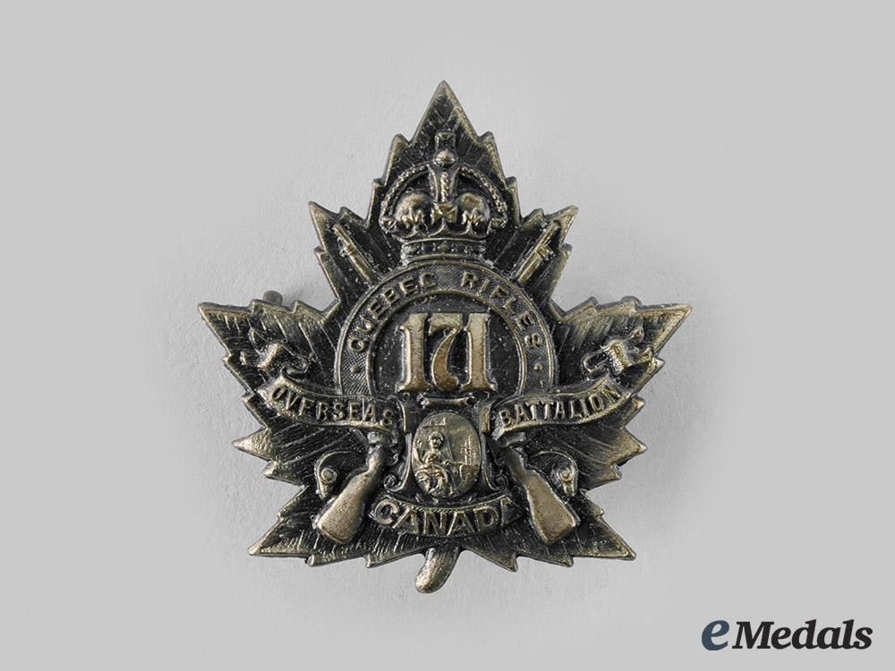 "eMedals-Canada, CEF. A 171st Infantry Battalion ""The Quebec Rifles"" Cap Badge"