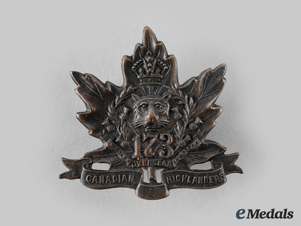 """eMedals-Canada, CEF. A 173rd Infantry Battalion """"Canadian Highlanders"""" Cap Badge, by Geo. Lees, c.1915"""