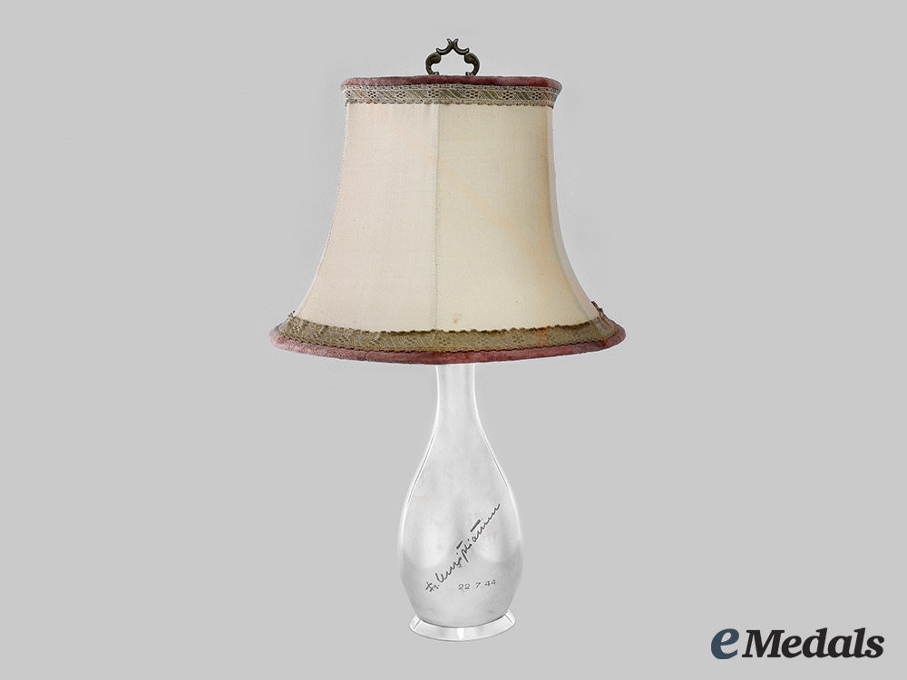 eMedals-Germany, Third Reich. A 1944 Dedicated Silver Table Lamp from the Estate of Arthur Seyß-Inquart,