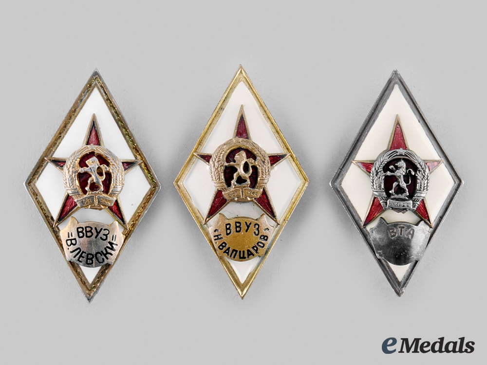 eMedals-Bulgaria, People's Republic. A Lot of Military Academy Graduation Badges