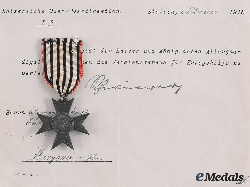 eMedals-Prussia, Imperial. A Merit Cross for War Aid with Document to Belegwaghensekretär Ehlert