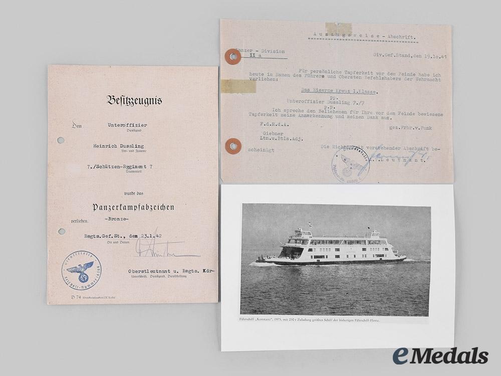 eMedals-Germany, Heer. A Pair of Award Documents, Schützen-Regiment (Rifle Regiment) 7